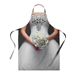 Фартук кулинарный Невеста с букетом цвета 3D — фото 1