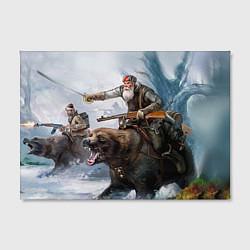 Холст прямоугольный Русский воин на медведе цвета 3D — фото 2