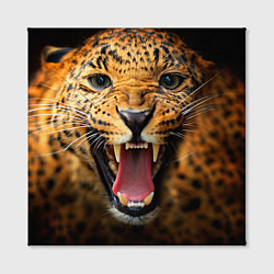 Холст квадратный Рык леопарда цвета 3D-принт — фото 2