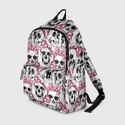 Рюкзак Черепа в розовых платках цвета 3D — фото 1