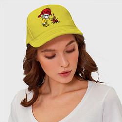 Бейсболка Ручной пожарник цвета желтый — фото 2