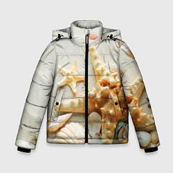 Куртка зимняя для мальчика Морские ракушки цвета 3D-черный — фото 1