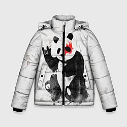 Куртка зимняя для мальчика Рок-панда цвета 3D-черный — фото 1