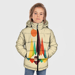 Куртка зимняя для мальчика Медведь в горах цвета 3D-черный — фото 2