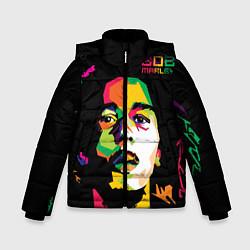 Куртка зимняя для мальчика Боб Марли: фан-арт цвета 3D-черный — фото 1