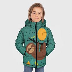 Куртка зимняя для мальчика Довольный ленивец цвета 3D-черный — фото 2