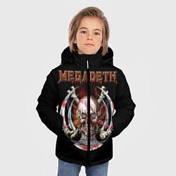 Детская зимняя куртка для мальчика с принтом Megadeth: Skull in chains, цвет: 3D-черный, артикул: 10118376806063 — фото 2
