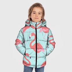 Куртка зимняя для мальчика Розовые фламинго цвета 3D-черный — фото 2