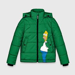 Куртка зимняя для мальчика Гомер в кустах цвета 3D-черный — фото 1