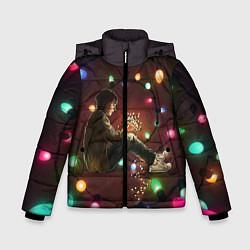 Детская зимняя куртка для мальчика с принтом Парень с лампочками, цвет: 3D-черный, артикул: 10135899306063 — фото 1