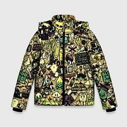 Куртка зимняя для мальчика Стикер бомбинг цвета 3D-черный — фото 1