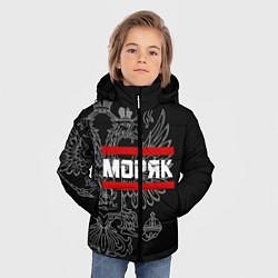 Куртка зимняя для мальчика Моряк: герб РФ цвета 3D-черный — фото 2
