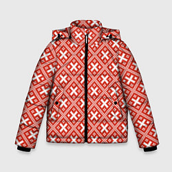 Куртка зимняя для мальчика Обережная вышиванка: красно-белая цвета 3D-черный — фото 1