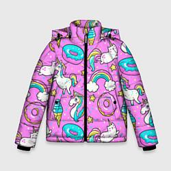 Куртка зимняя для мальчика Сказочные единороги цвета 3D-черный — фото 1