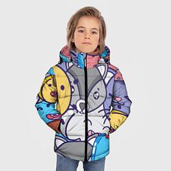 Куртка зимняя для мальчика Влюбленный енот цвета 3D-черный — фото 2