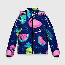 Куртка зимняя для мальчика Фруктовый фламинго цвета 3D-черный — фото 1