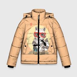 Куртка зимняя для мальчика Raccoon Love Coffee цвета 3D-черный — фото 1