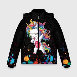 Куртка зимняя для мальчика Малыш-единорог цвета 3D-черный — фото 1