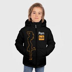 Детская зимняя куртка для мальчика с принтом PornHub: Neon Girl, цвет: 3D-черный, артикул: 10174314906063 — фото 2