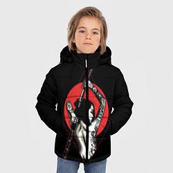 Куртка зимняя для мальчика Девушка с мечом цвета 3D-черный — фото 2