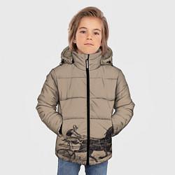 Куртка зимняя для мальчика Лошадь с колесницей цвета 3D-черный — фото 2