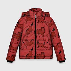 Куртка зимняя для мальчика Красные кони цвета 3D-черный — фото 1
