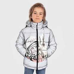 Куртка зимняя для мальчика Юрий Гагарин космический свет цвета 3D-черный — фото 2