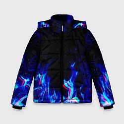 Куртка зимняя для мальчика СИНИЙ ОГОНЬ ГЛИТЧ цвета 3D-черный — фото 1