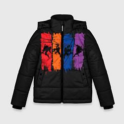 Куртка зимняя для мальчика Силуэты черепашек цвета 3D-черный — фото 1
