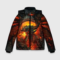 Куртка зимняя для мальчика Огненный Дракон цвета 3D-черный — фото 1