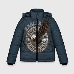 Детская зимняя куртка для мальчика с принтом Летящий орёл, цвет: 3D-черный, артикул: 10272060106063 — фото 1