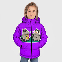 Куртка зимняя для мальчика Еноты хавают цвета 3D-черный — фото 2