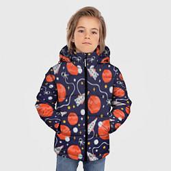 Куртка зимняя для мальчика Корабли, планеты и спутники цвета 3D-черный — фото 2