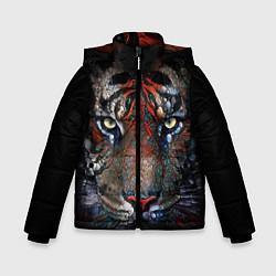 Куртка зимняя для мальчика Цветной тигр цвета 3D-черный — фото 1