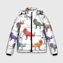 Куртка зимняя для мальчика Разноцветные тираннозавры цвета 3D-черный — фото 1