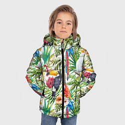 Куртка зимняя для мальчика Попугаи в тропиках цвета 3D-черный — фото 2
