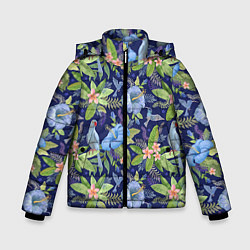 Детская зимняя куртка для мальчика с принтом Голубые попугаи, цвет: 3D-черный, артикул: 10065279506063 — фото 1
