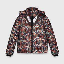 Куртка зимняя для мальчика Вязанный узор с галстуком - фото 1