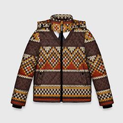 Куртка зимняя для мальчика Зимний узор с галстуком цвета 3D-черный — фото 1
