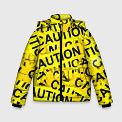 Детская зимняя куртка для мальчика с принтом Caution, цвет: 3D-черный, артикул: 10086347006063 — фото 1