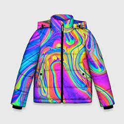 Детская зимняя куртка для мальчика с принтом Цветные разводы, цвет: 3D-черный, артикул: 10086773306063 — фото 1