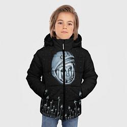 Детская зимняя куртка для мальчика с принтом Гагарин в небе, цвет: 3D-черный, артикул: 10091680706063 — фото 2