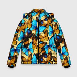 Детская зимняя куртка для мальчика с принтом Бабочки, цвет: 3D-черный, артикул: 10096494806063 — фото 1