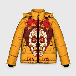 Куртка зимняя для мальчика Мексиканский череп цвета 3D-черный — фото 1