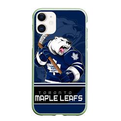 Чехол iPhone 11 матовый Toronto Maple Leafs цвета 3D-салатовый — фото 1