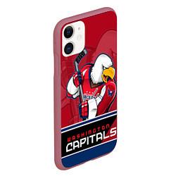Чехол iPhone 11 матовый Washington Capitals цвета 3D-малиновый — фото 2