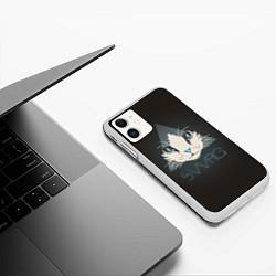 Чехол iPhone 11 матовый Cat цвета 3D-белый — фото 2