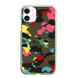Чехол iPhone 11 матовый Цветной камуфляж цвета 3D-салатовый — фото 1