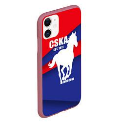 Чехол iPhone 11 матовый CSKA est. 1911 цвета 3D-малиновый — фото 2