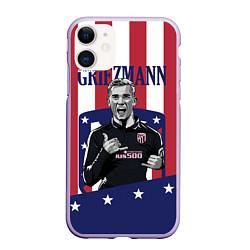 Чехол iPhone 11 матовый Griezmann: Atletico Star цвета 3D-светло-сиреневый — фото 1